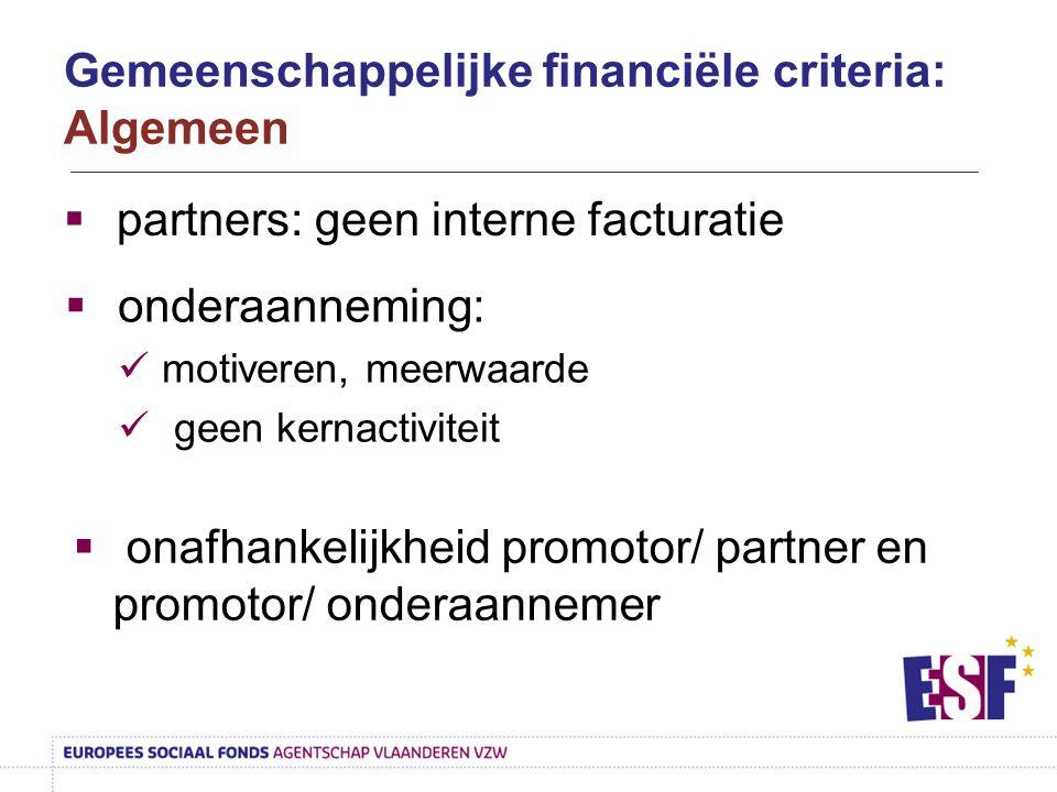  partners: geen interne facturatie  onafhankelijkheid promotor/ partner en promotor/ onderaannemer  onderaanneming: motiveren, meerwaarde geen kern