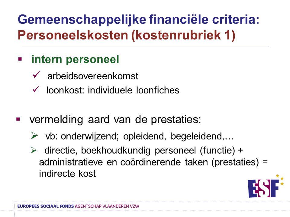  intern personeel arbeidsovereenkomst loonkost: individuele loonfiches  vermelding aard van de prestaties:  vb: onderwijzend; opleidend, begeleiden