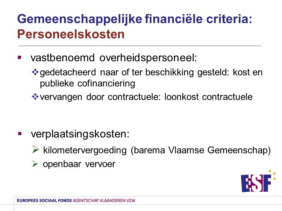  vastbenoemd overheidspersoneel:  gedetacheerd naar of ter beschikking gesteld: kost en publieke cofinanciering  vervangen door contractuele: loonk