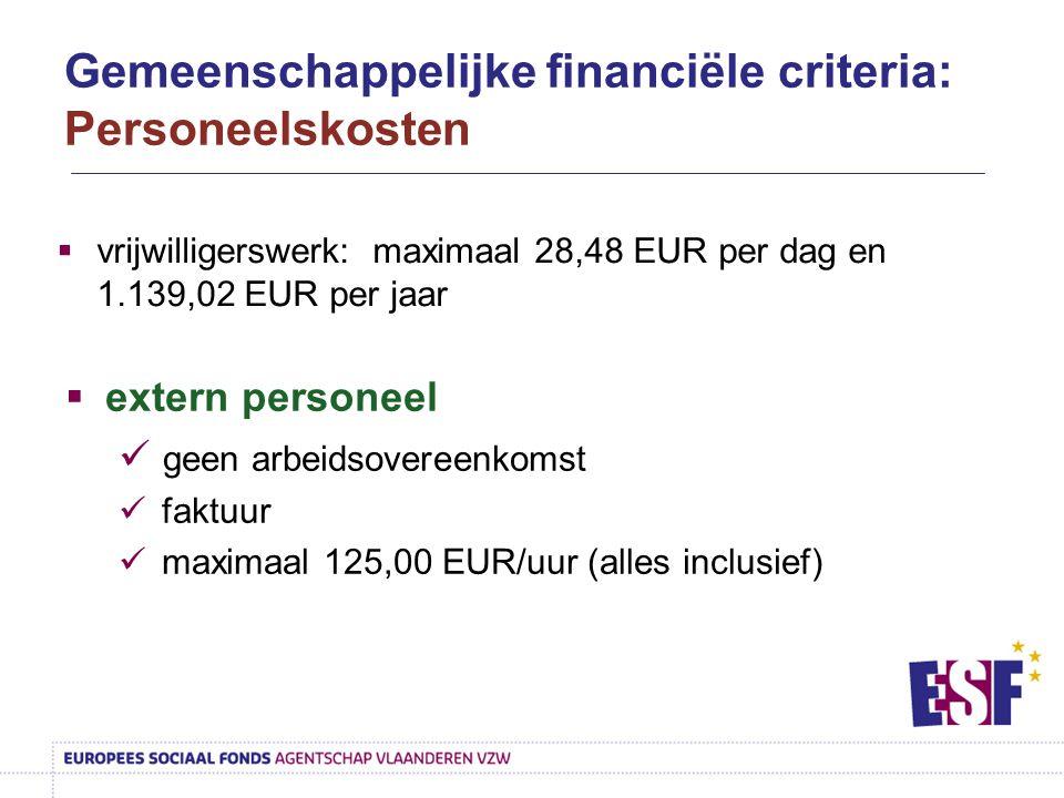  vrijwilligerswerk: maximaal 28,48 EUR per dag en 1.139,02 EUR per jaar  extern personeel geen arbeidsovereenkomst faktuur maximaal 125,00 EUR/uur (