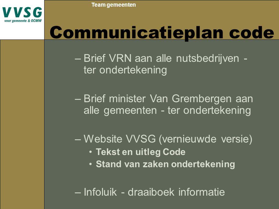 Team gemeenten Communicatieplan code –Brief VRN aan alle nutsbedrijven - ter ondertekening –Brief minister Van Grembergen aan alle gemeenten - ter ond