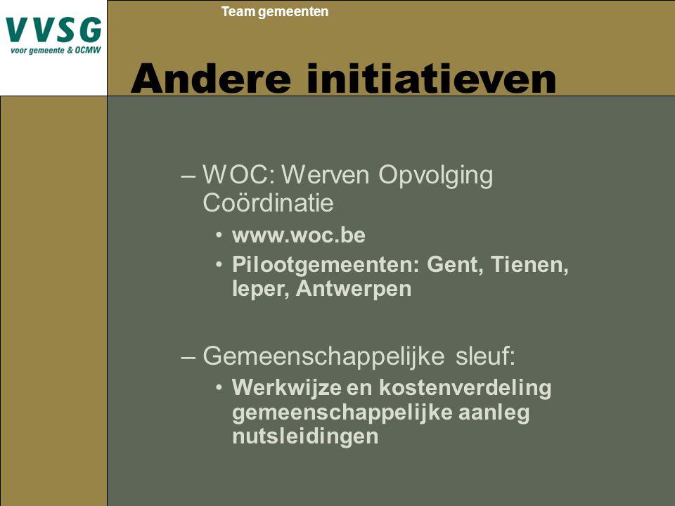 Team gemeenten Andere initiatieven –WOC: Werven Opvolging Coördinatie www.woc.be Pilootgemeenten: Gent, Tienen, Ieper, Antwerpen –Gemeenschappelijke sleuf: Werkwijze en kostenverdeling gemeenschappelijke aanleg nutsleidingen