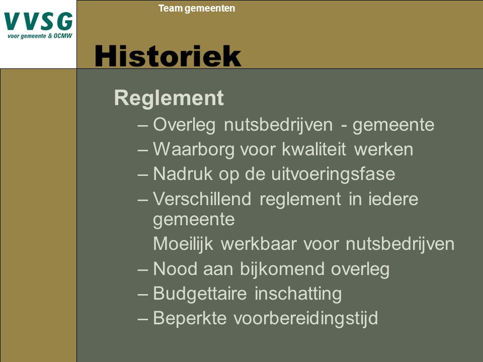 Team gemeenten Historiek Reglement –Overleg nutsbedrijven - gemeente –Waarborg voor kwaliteit werken –Nadruk op de uitvoeringsfase –Verschillend regle