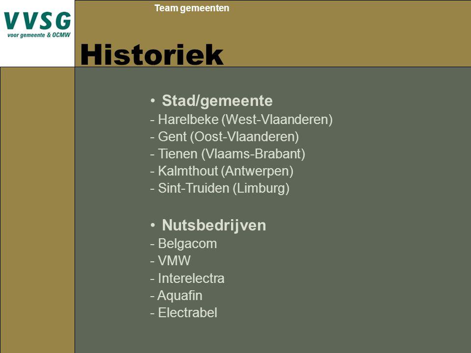 Team gemeenten Historiek Stad/gemeente - Harelbeke (West-Vlaanderen) - Gent (Oost-Vlaanderen) - Tienen (Vlaams-Brabant) - Kalmthout (Antwerpen) - Sint-Truiden (Limburg) Nutsbedrijven - Belgacom - VMW - Interelectra - Aquafin - Electrabel