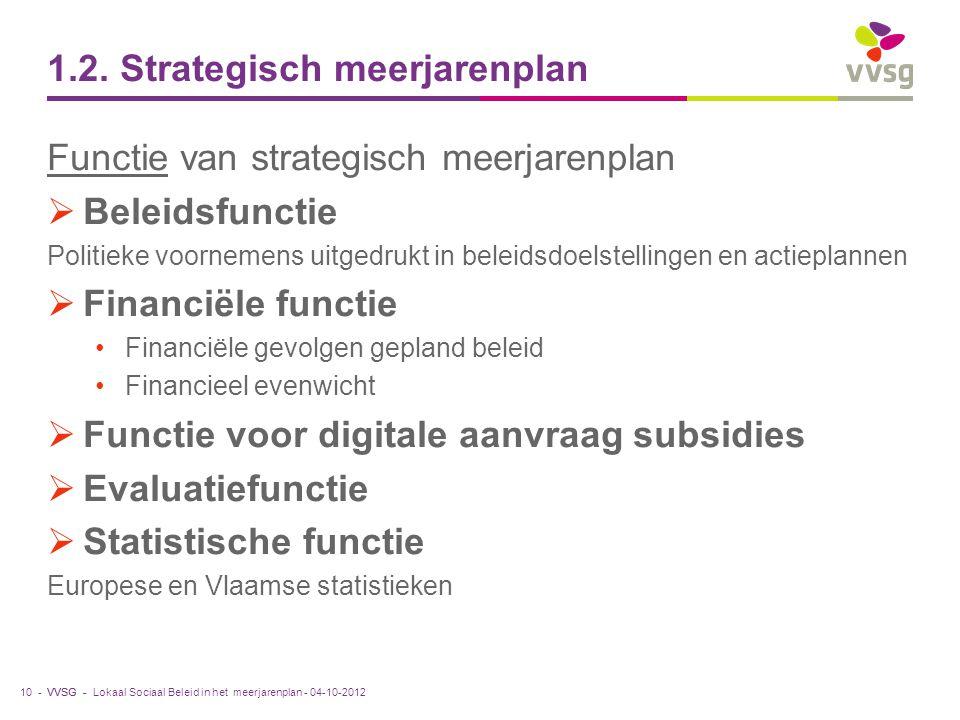 VVSG - 1.2. Strategisch meerjarenplan Functie van strategisch meerjarenplan  Beleidsfunctie Politieke voornemens uitgedrukt in beleidsdoelstellingen