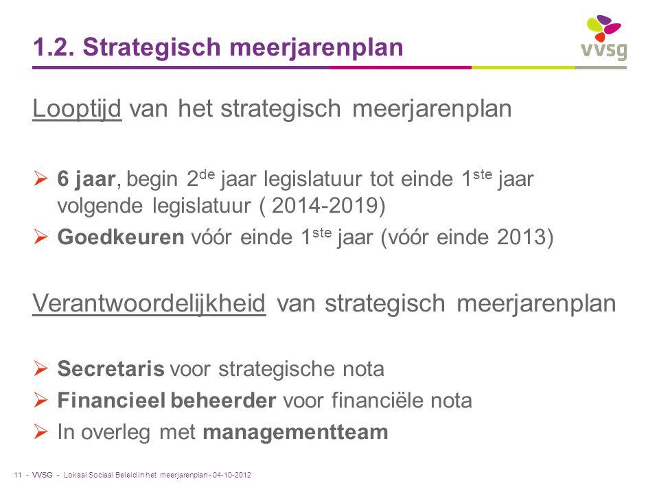 VVSG - 1.2. Strategisch meerjarenplan Looptijd van het strategisch meerjarenplan  6 jaar, begin 2 de jaar legislatuur tot einde 1 ste jaar volgende l