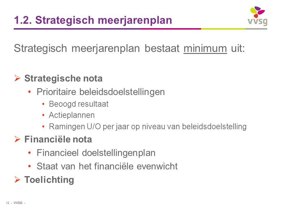 VVSG - 1.2. Strategisch meerjarenplan Strategisch meerjarenplan bestaat minimum uit:  Strategische nota Prioritaire beleidsdoelstellingen Beoogd resu