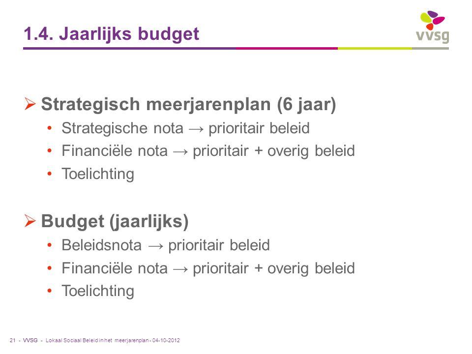 VVSG - 1.4. Jaarlijks budget  Strategisch meerjarenplan (6 jaar) Strategische nota → prioritair beleid Financiële nota → prioritair + overig beleid T