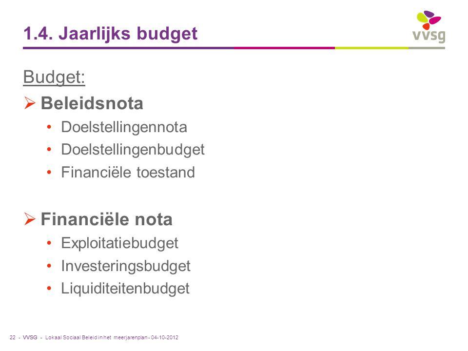 VVSG - 1.4. Jaarlijks budget Budget:  Beleidsnota Doelstellingennota Doelstellingenbudget Financiële toestand  Financiële nota Exploitatiebudget Inv