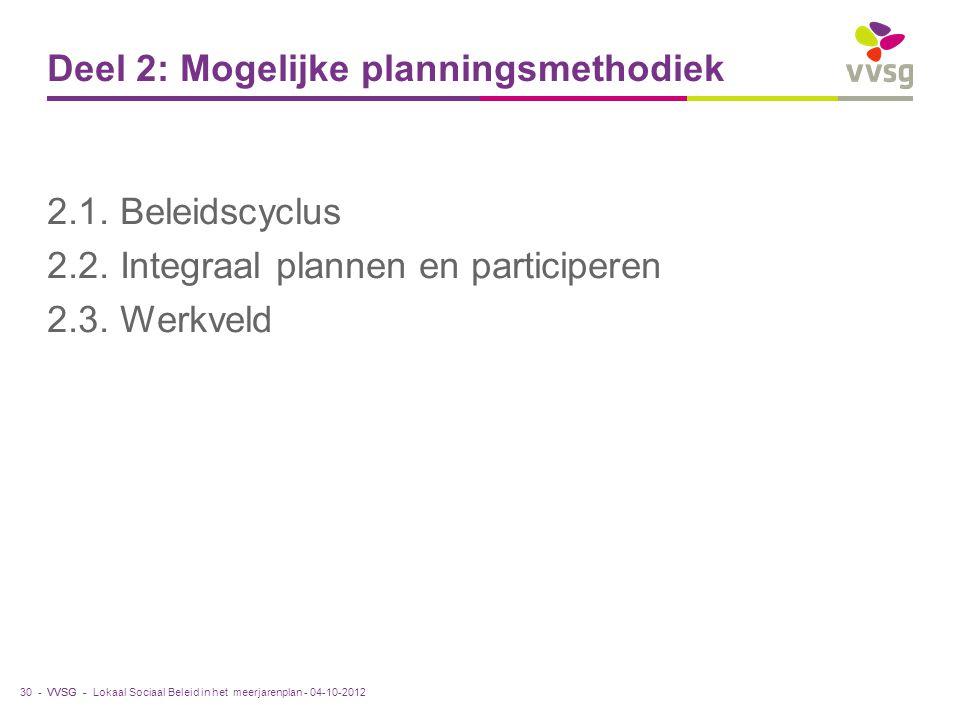 VVSG - Deel 2: Mogelijke planningsmethodiek 2.1. Beleidscyclus 2.2. Integraal plannen en participeren 2.3. Werkveld Lokaal Sociaal Beleid in het meerj
