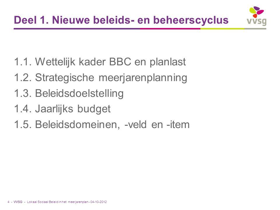 VVSG - Deel 1. Nieuwe beleids- en beheerscyclus 1.1. Wettelijk kader BBC en planlast 1.2. Strategische meerjarenplanning 1.3. Beleidsdoelstelling 1.4.