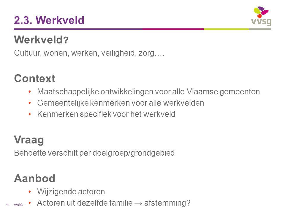 VVSG - 2.3. Werkveld Werkveld ? Cultuur, wonen, werken, veiligheid, zorg…. Context Maatschappelijke ontwikkelingen voor alle Vlaamse gemeenten Gemeent