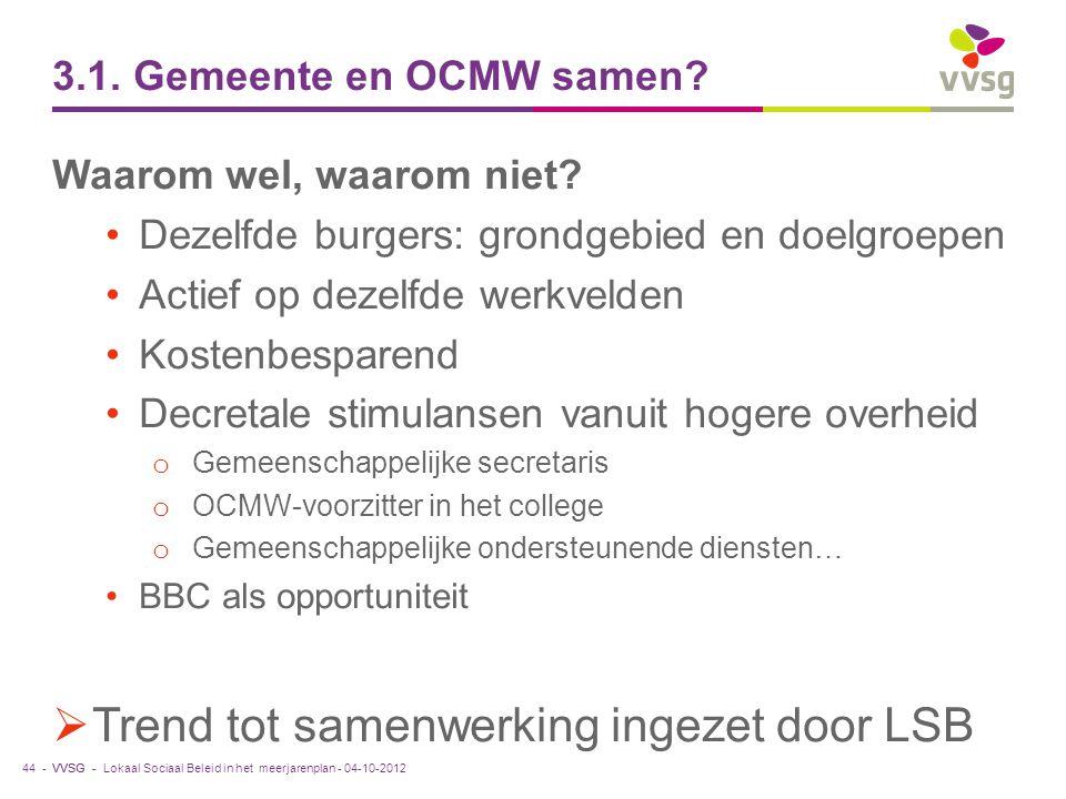 VVSG - 3.1. Gemeente en OCMW samen? Waarom wel, waarom niet? Dezelfde burgers: grondgebied en doelgroepen Actief op dezelfde werkvelden Kostenbesparen
