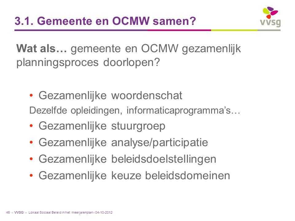 VVSG - 3.1. Gemeente en OCMW samen? Wat als… gemeente en OCMW gezamenlijk planningsproces doorlopen? Gezamenlijke woordenschat Dezelfde opleidingen, i