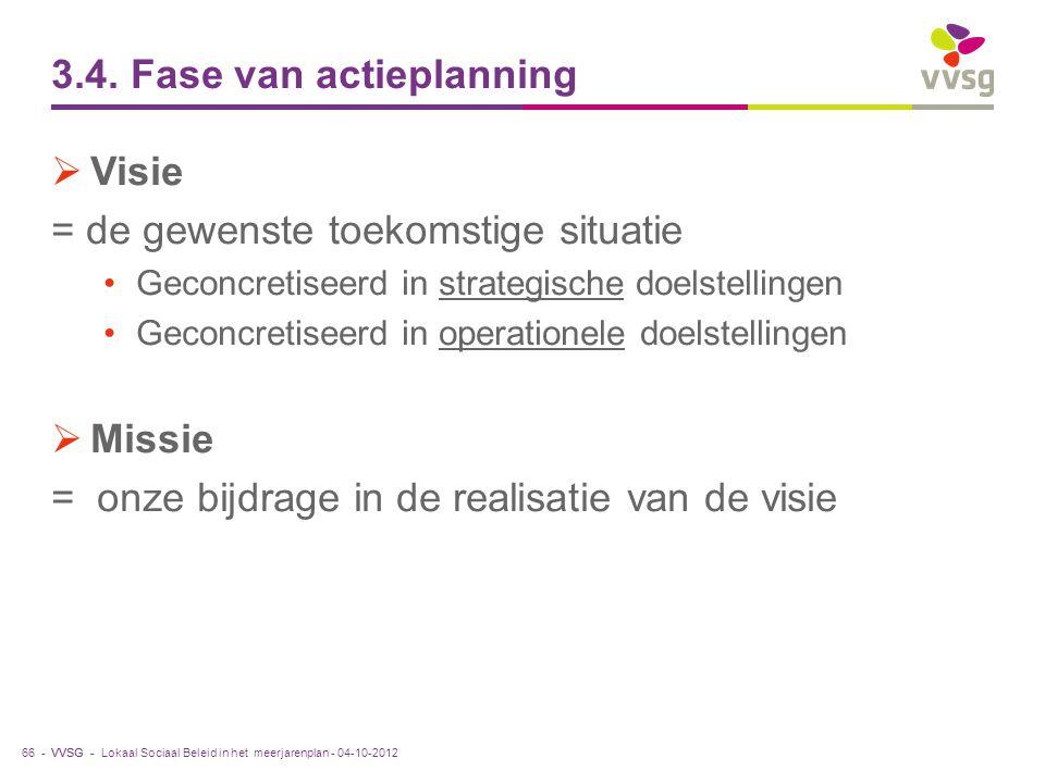 VVSG - 3.4. Fase van actieplanning  Visie = de gewenste toekomstige situatie Geconcretiseerd in strategische doelstellingen Geconcretiseerd in operat