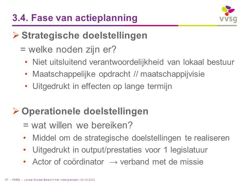 VVSG - 3.4. Fase van actieplanning  Strategische doelstellingen = welke noden zijn er? Niet uitsluitend verantwoordelijkheid van lokaal bestuur Maats