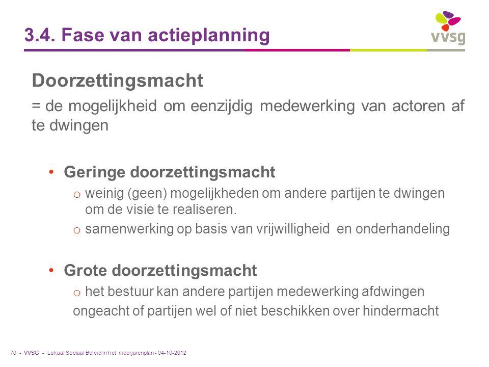 VVSG - 3.4. Fase van actieplanning Doorzettingsmacht = de mogelijkheid om eenzijdig medewerking van actoren af te dwingen Geringe doorzettingsmacht o