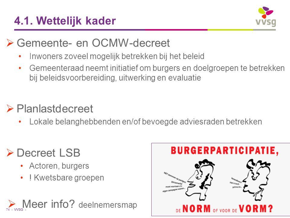 VVSG - 4.1. Wettelijk kader  Gemeente- en OCMW-decreet Inwoners zoveel mogelijk betrekken bij het beleid Gemeenteraad neemt initiatief om burgers en