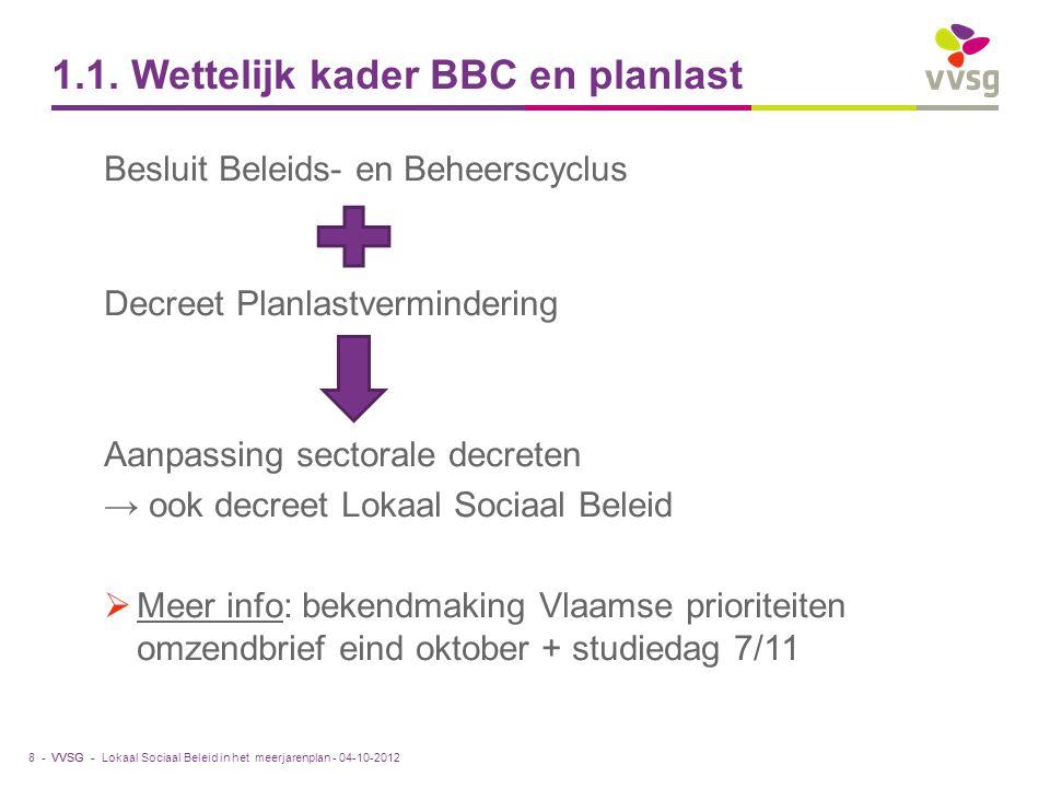 VVSG - 1.1. Wettelijk kader BBC en planlast Besluit Beleids- en Beheerscyclus Decreet Planlastvermindering Aanpassing sectorale decreten → ook decreet