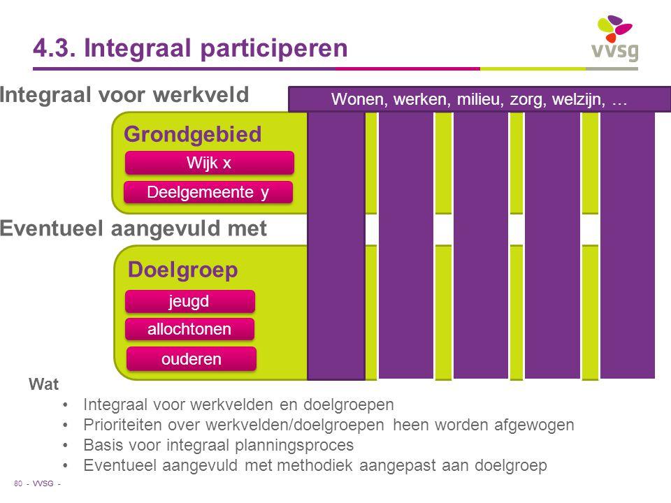 VVSG - 4.3. Integraal participeren Doelgroep jeugd Grondgebied allochtonen ouderen Wijk x Deelgemeente y 80 - Integraal voor werkveld Wat Integraal vo