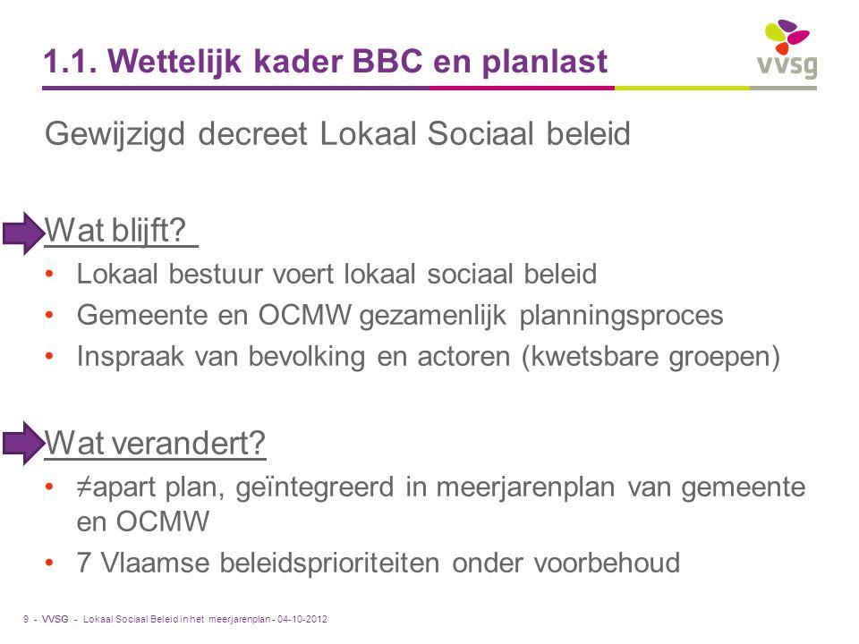 VVSG - 1.1. Wettelijk kader BBC en planlast Gewijzigd decreet Lokaal Sociaal beleid Wat blijft? Lokaal bestuur voert lokaal sociaal beleid Gemeente en