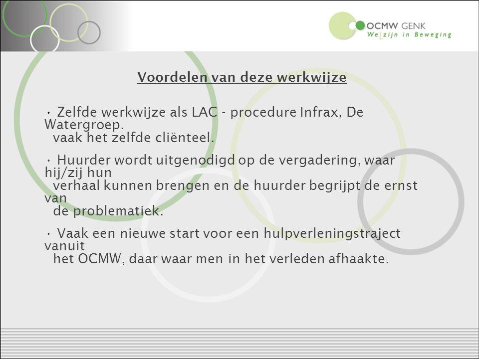 Voordelen van deze werkwijze Zelfde werkwijze als LAC - procedure Infrax, De Watergroep.