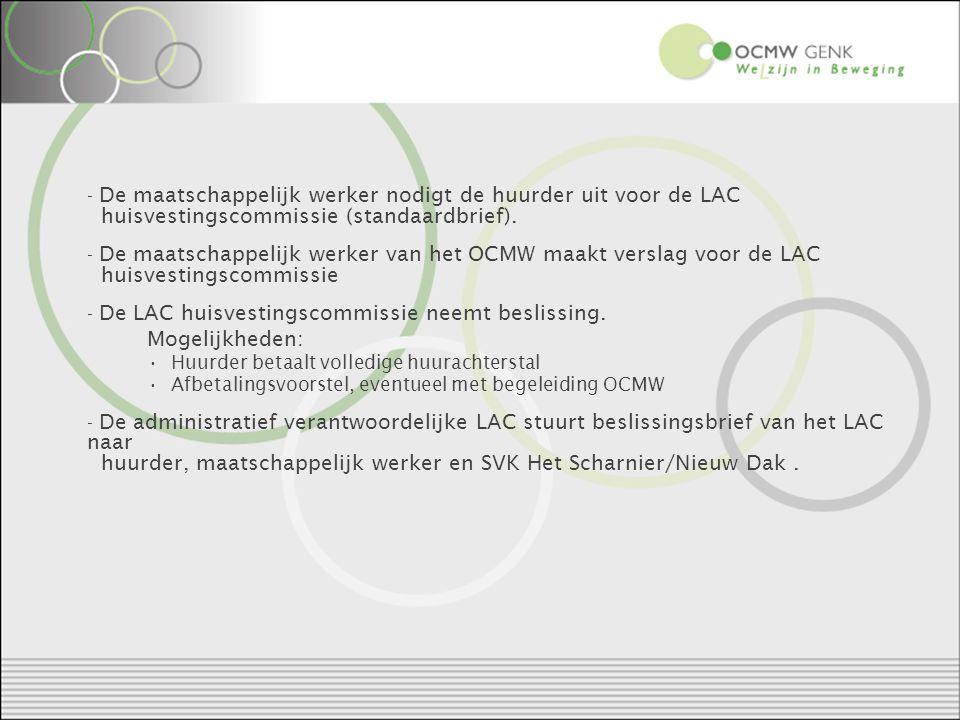 Richtlijnen voor de maatschappelijk werkers Maak realistische afspraken op het LAC.