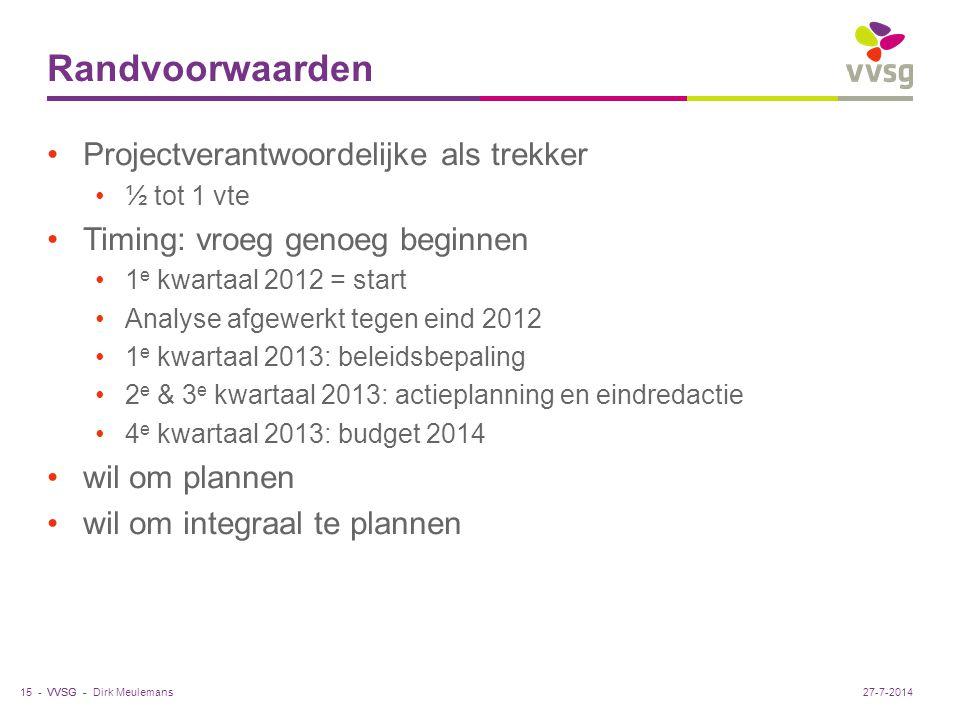 VVSG - Randvoorwaarden Projectverantwoordelijke als trekker ½ tot 1 vte Timing: vroeg genoeg beginnen 1 e kwartaal 2012 = start Analyse afgewerkt tegen eind 2012 1 e kwartaal 2013: beleidsbepaling 2 e & 3 e kwartaal 2013: actieplanning en eindredactie 4 e kwartaal 2013: budget 2014 wil om plannen wil om integraal te plannen Dirk Meulemans15 -27-7-2014