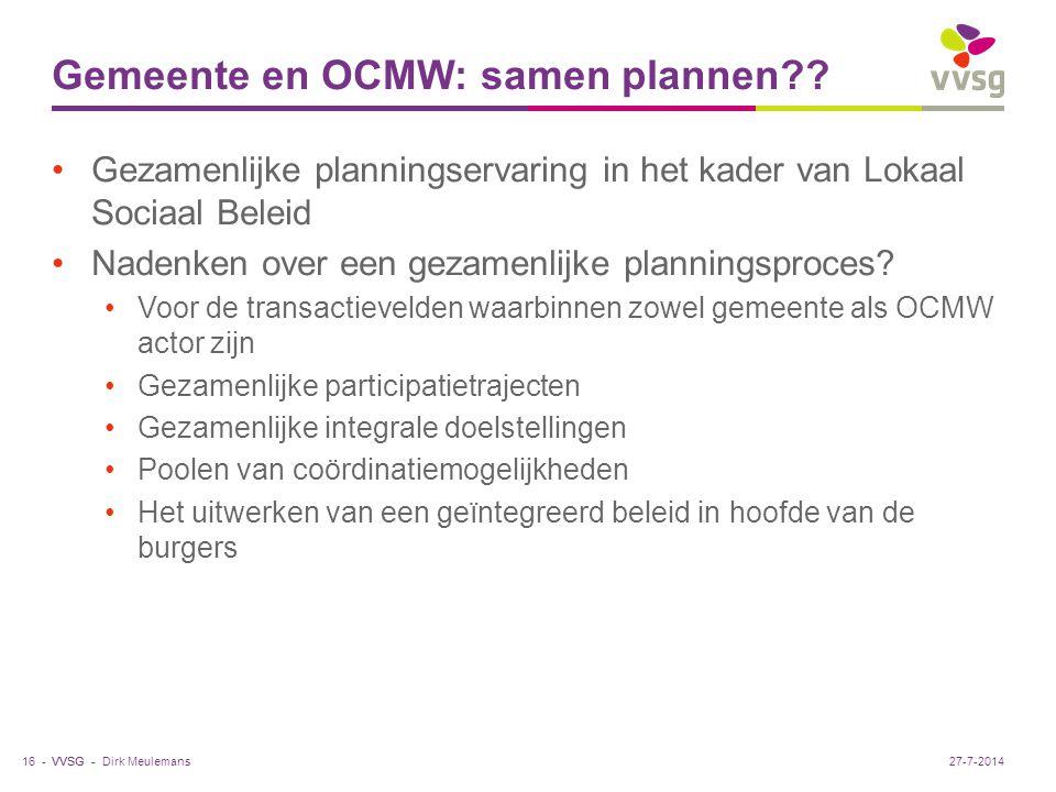 VVSG - Gemeente en OCMW: samen plannen?.