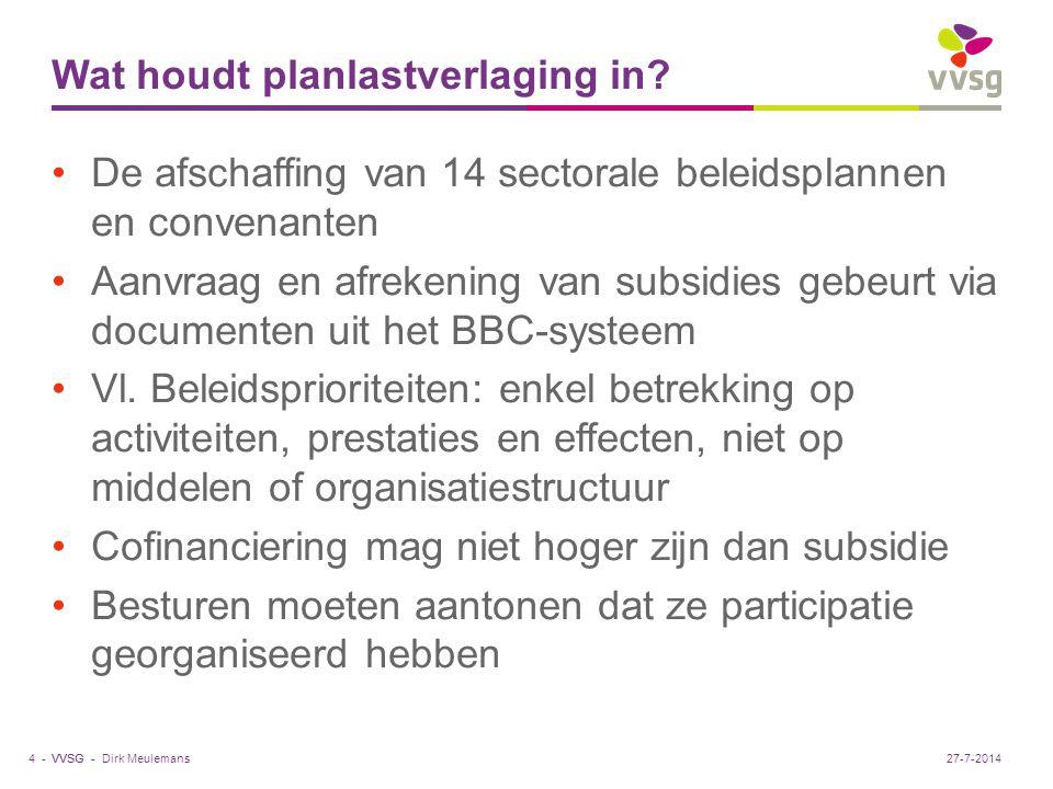 VVSG - Beleidscyclus PlanningUitvoering Evaluatie & bijsturing Dirk Meulemans5 -27-7-2014
