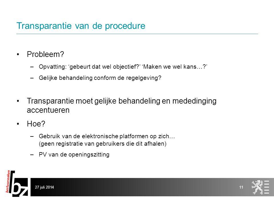 Transparantie van de procedure Probleem.