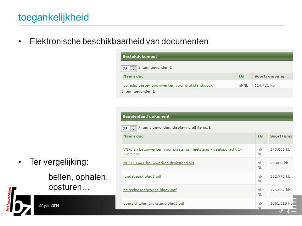 toegankelijkheid Elektronische beschikbaarheid van documenten Ter vergelijking: bellen, ophalen, opsturen… 27 juli 20146