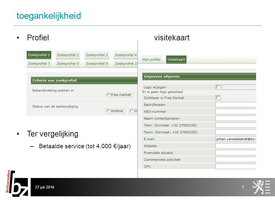 toegankelijkheid Profielvisitekaart Ter vergelijking –Betaalde service (tot 4.000 €/jaar) 27 juli 20147