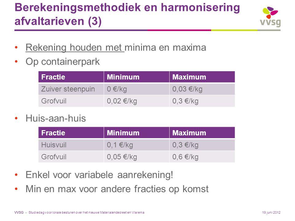 VVSG - Berekeningsmethodiek en harmonisering afvaltarieven (3) Rekening houden met minima en maxima Op containerpark Huis-aan-huis Enkel voor variabele aanrekening.