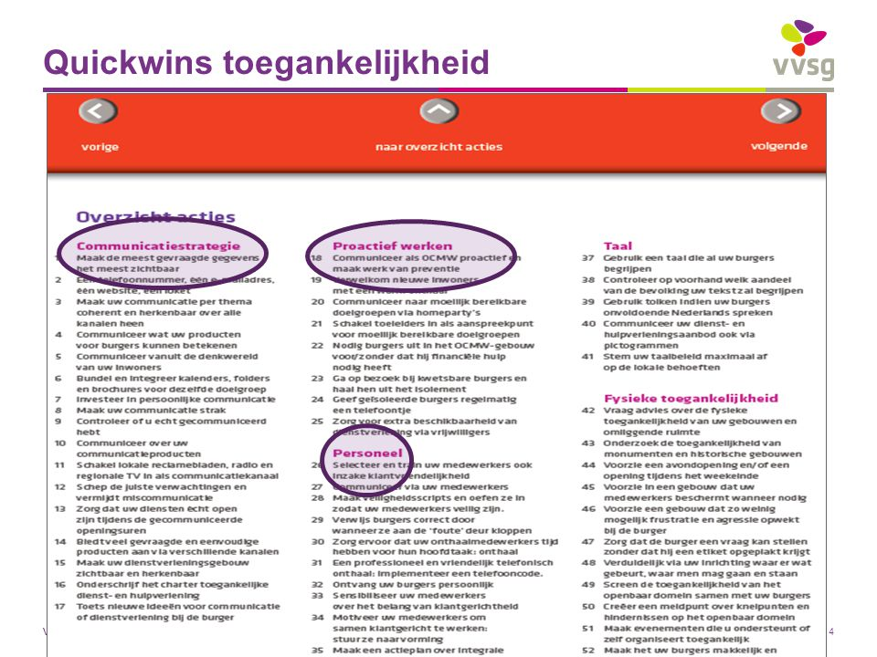 VVSG - Quickwins toegankelijkheid Pas aan bij: Invoegen / Koptekst en Voettekst27-7-2014