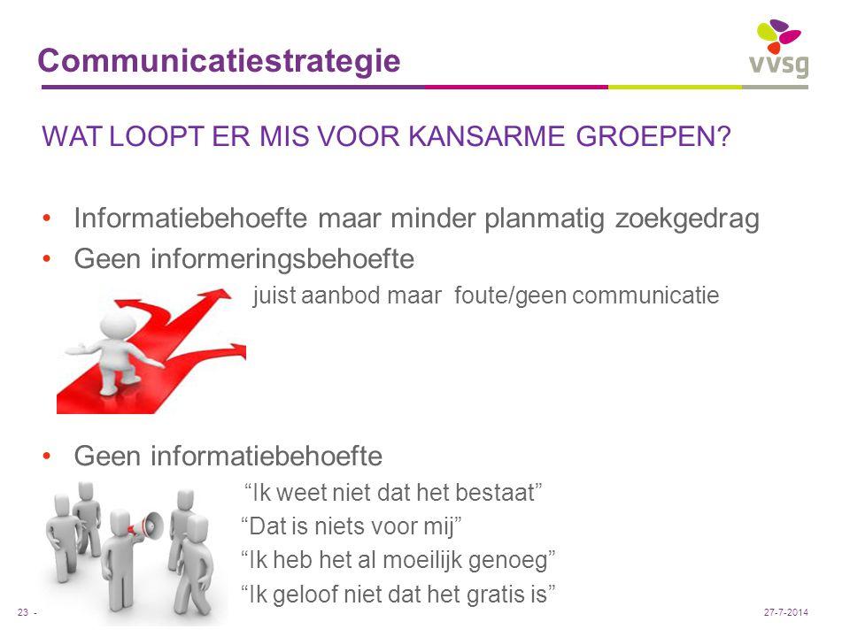 VVSG - Communicatiestrategie WAT LOOPT ER MIS VOOR KANSARME GROEPEN? Informatiebehoefte maar minder planmatig zoekgedrag Geen informeringsbehoefte jui