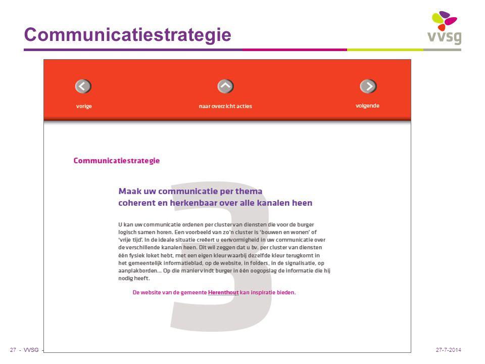 VVSG - Communicatiestrategie 27 -27-7-2014