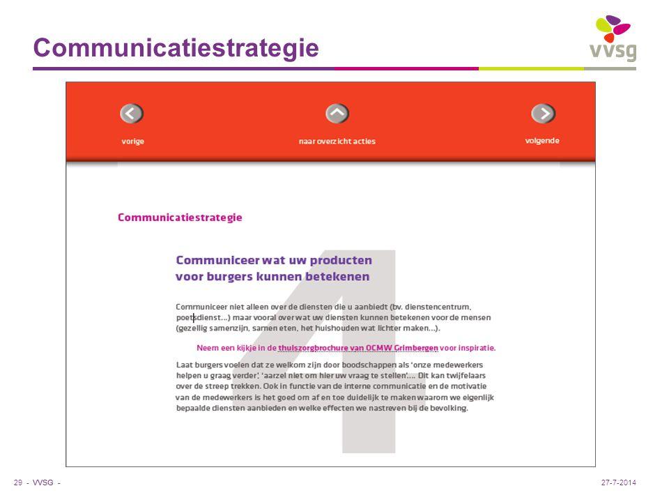 VVSG - Communicatiestrategie 29 -27-7-2014