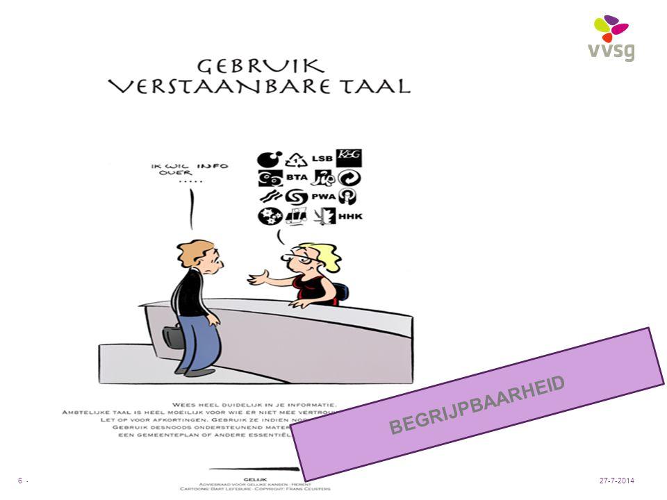 VVSG - Pas aan bij: Invoegen / Koptekst en Voettekst6 -27-7-2014 BEGRIJPBAARHEID