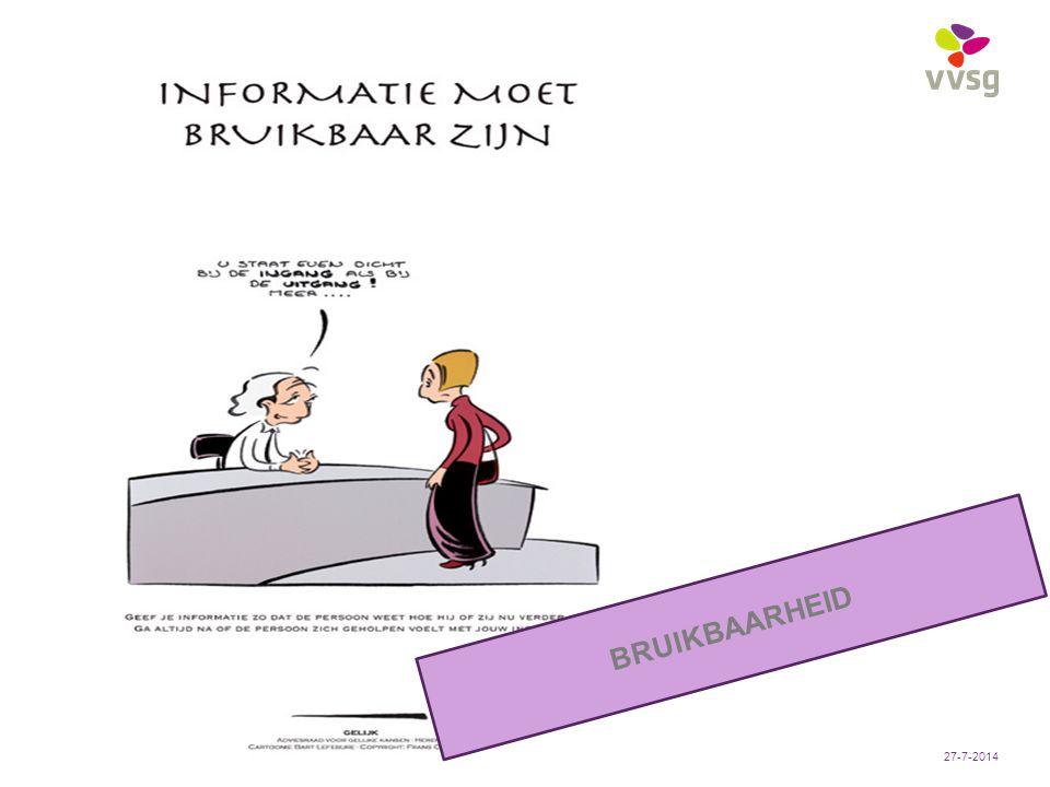 VVSG - Pas aan bij: Invoegen / Koptekst en Voettekst8 -27-7-2014 BRUIKBAARHEID
