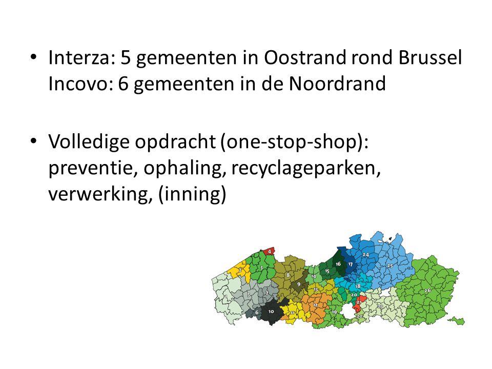 Interza: 5 gemeenten in Oostrand rond Brussel Incovo: 6 gemeenten in de Noordrand Volledige opdracht (one-stop-shop): preventie, ophaling, recyclagepa