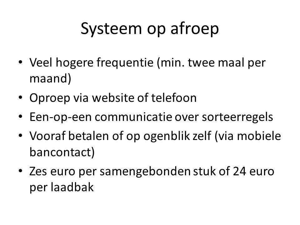 Systeem op afroep Veel hogere frequentie (min. twee maal per maand) Oproep via website of telefoon Een-op-een communicatie over sorteerregels Vooraf b
