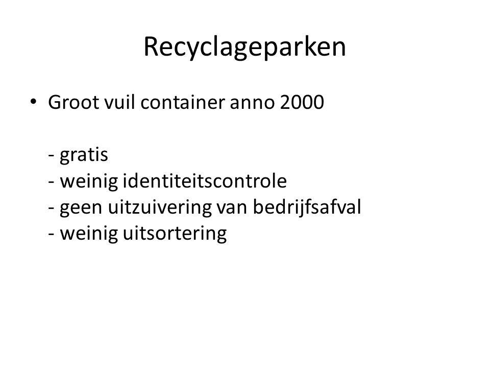 Recyclageparken Groot vuil container anno 2000 - gratis - weinig identiteitscontrole - geen uitzuivering van bedrijfsafval - weinig uitsortering