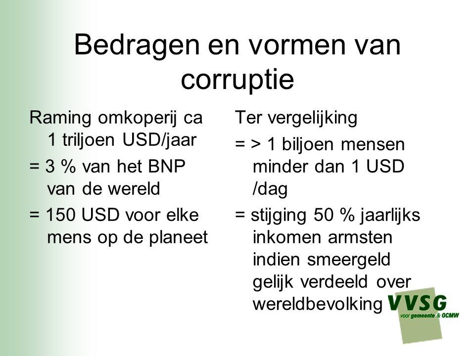 Bedragen en vormen van corruptie Raming omkoperij ca 1 triljoen USD/jaar = 3 % van het BNP van de wereld = 150 USD voor elke mens op de planeet Ter ve