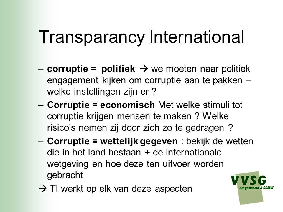 Transparancy International –Persoonlijke waarden mensen –Filosofie, religie, ethiek –Wat individueel gedrag beïnvloedt –Psychologie, antropologie, sociologie kunnen antwoorden bieden : hoe reageren mensen op corruptie.
