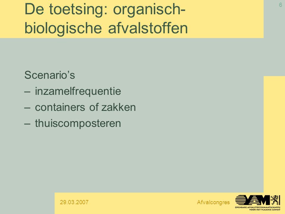 29.03.2007Afvalcongres 6 De toetsing: organisch- biologische afvalstoffen Scenario's –inzamelfrequentie –containers of zakken –thuiscomposteren