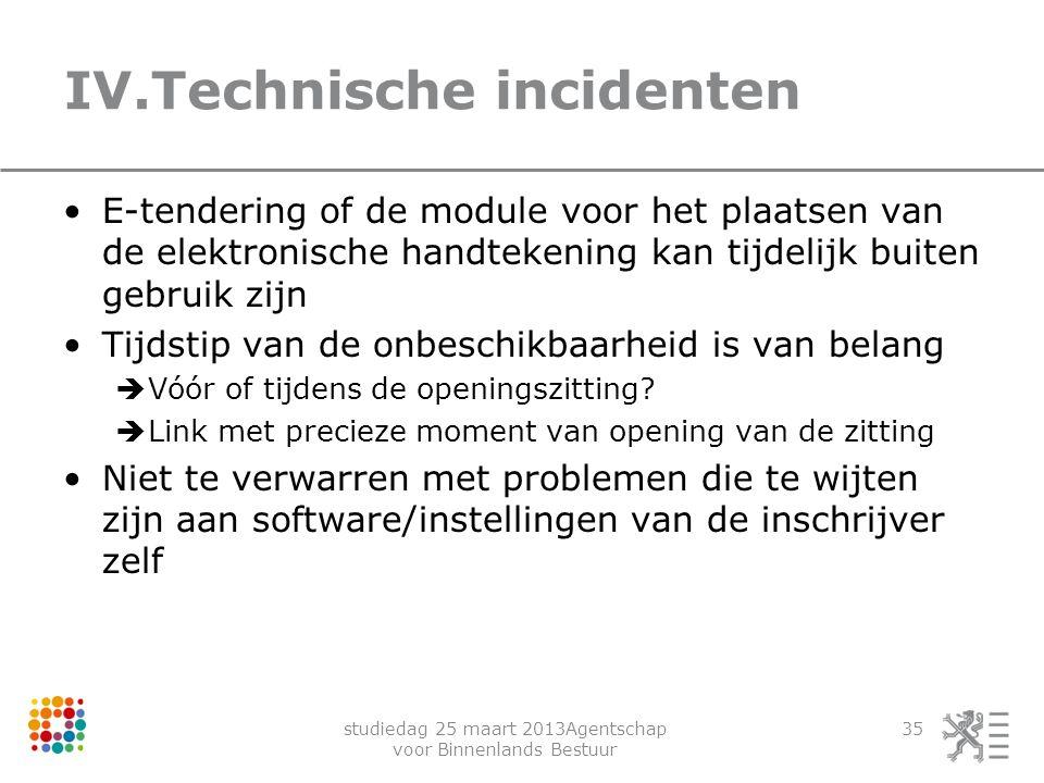 studiedag 25 maart 2013Agentschap voor Binnenlands Bestuur 35 IV.Technische incidenten E-tendering of de module voor het plaatsen van de elektronische