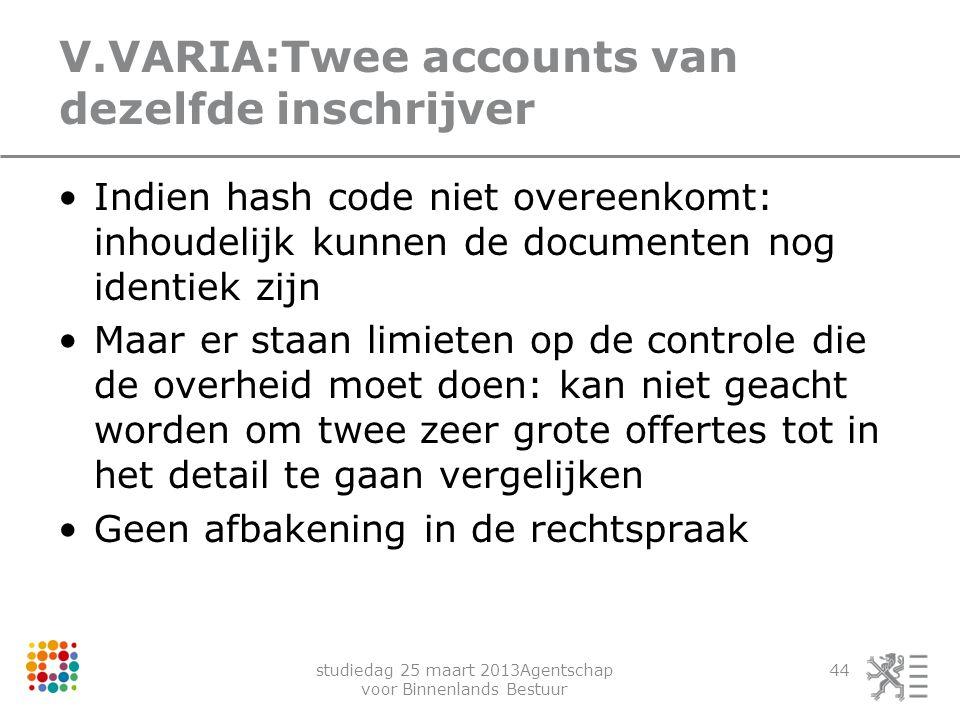 studiedag 25 maart 2013Agentschap voor Binnenlands Bestuur 44 V.VARIA:Twee accounts van dezelfde inschrijver Indien hash code niet overeenkomt: inhoud