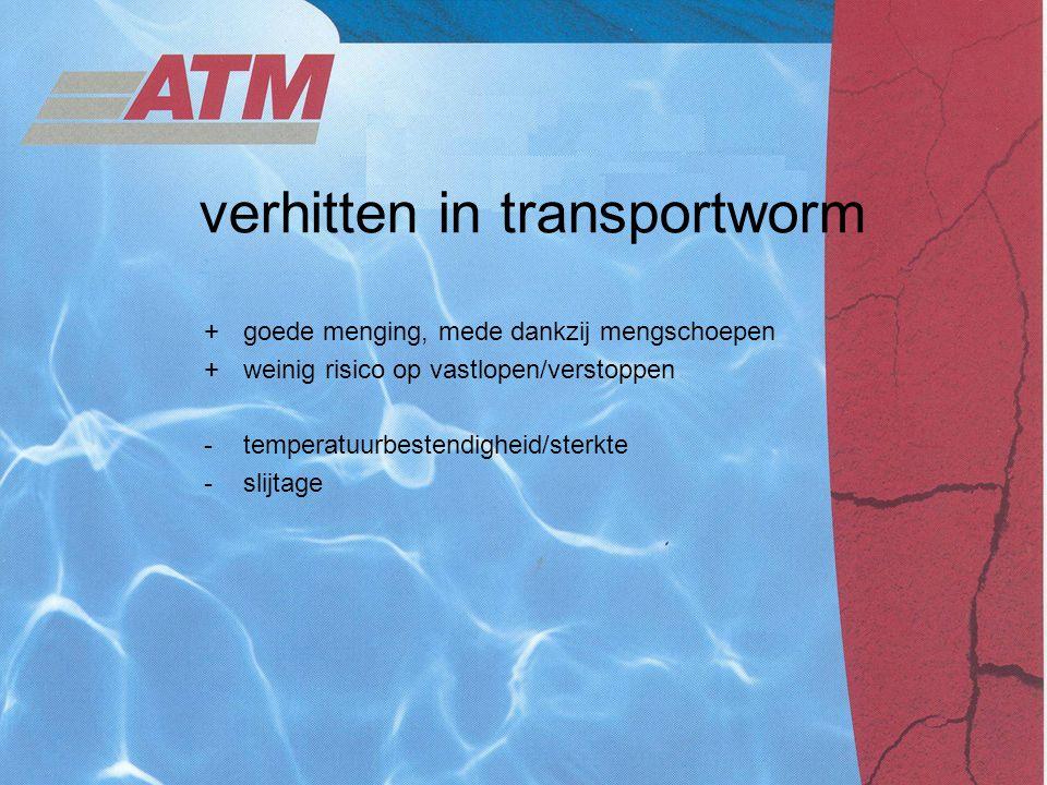 verhitten in transportworm +goede menging, mede dankzij mengschoepen +weinig risico op vastlopen/verstoppen -temperatuurbestendigheid/sterkte -slijtag