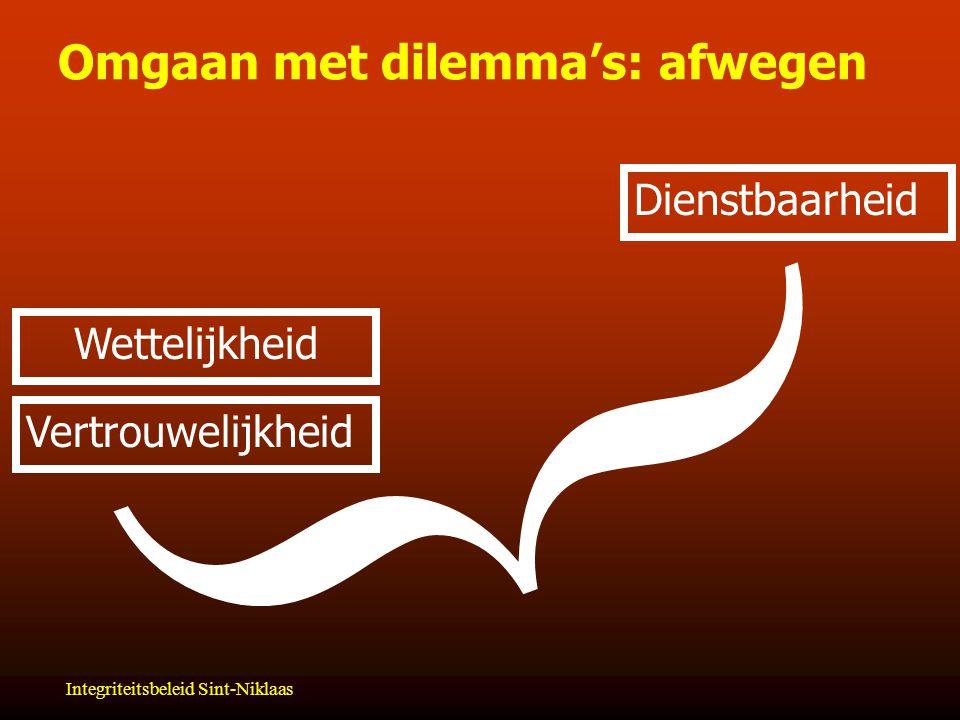 Integriteitsbeleid Sint-Niklaas Omgaan met dilemma's: afwegen  Dienstbaarheid Vertrouwelijkheid Wettelijkheid